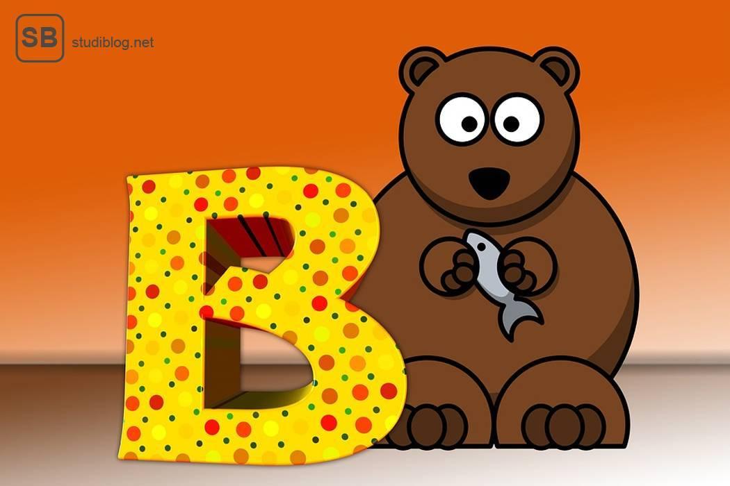Beitragsbild zum Thema neue Rechtschreibung und deren weiterer Modifikation. Gezeigt wird ein Bär mit einem großen B und einem Fisch in der Hand als Symbol für das ABC
