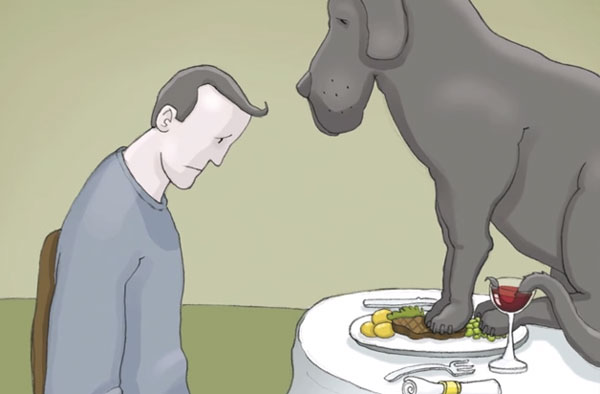 Bild zum Thema Depression mit dem Symbol schwarzer Hund