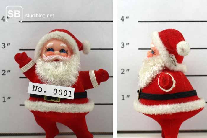 Nikolaus als Polizeifoto zum Thema Dinge die man an Heiligabend nicht tun sollte als Student