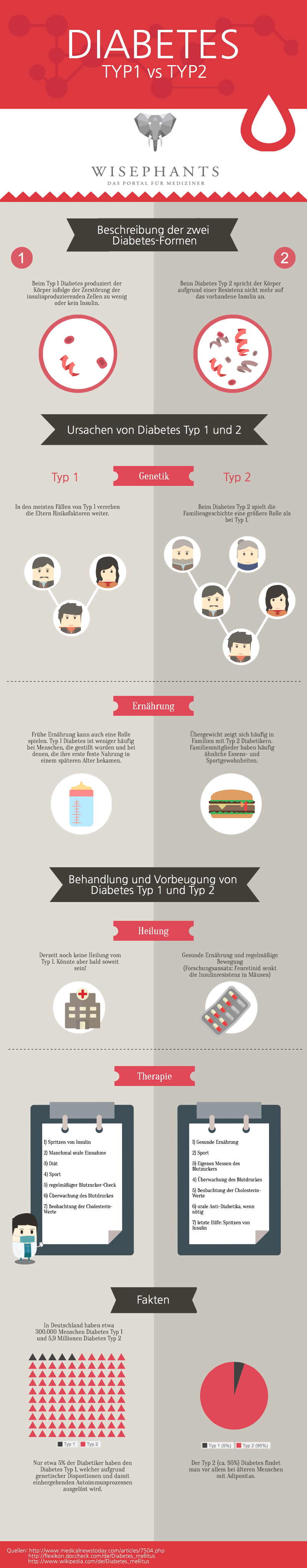 Wisephants Infografik Diabetes Typ 1 und 2