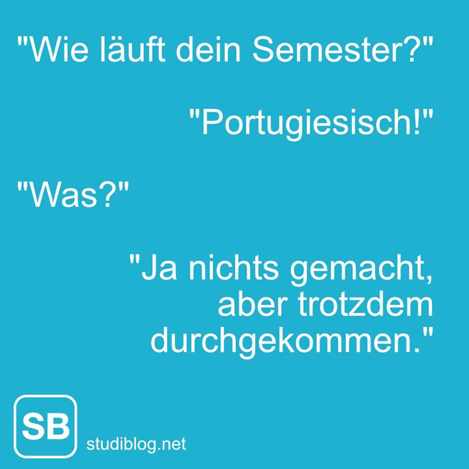 Wie läuft das Semester? Portugiesisch! Was? Ja, nichts gemacht, aber trotzdem durchgekommen.