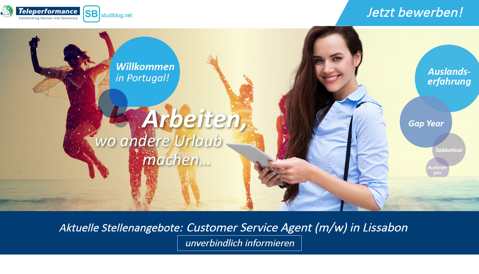 Teleperformance - Arbeiten, wo andere Urlaub machen - Jobangebot Customer Service in Portugal, Lissabon
