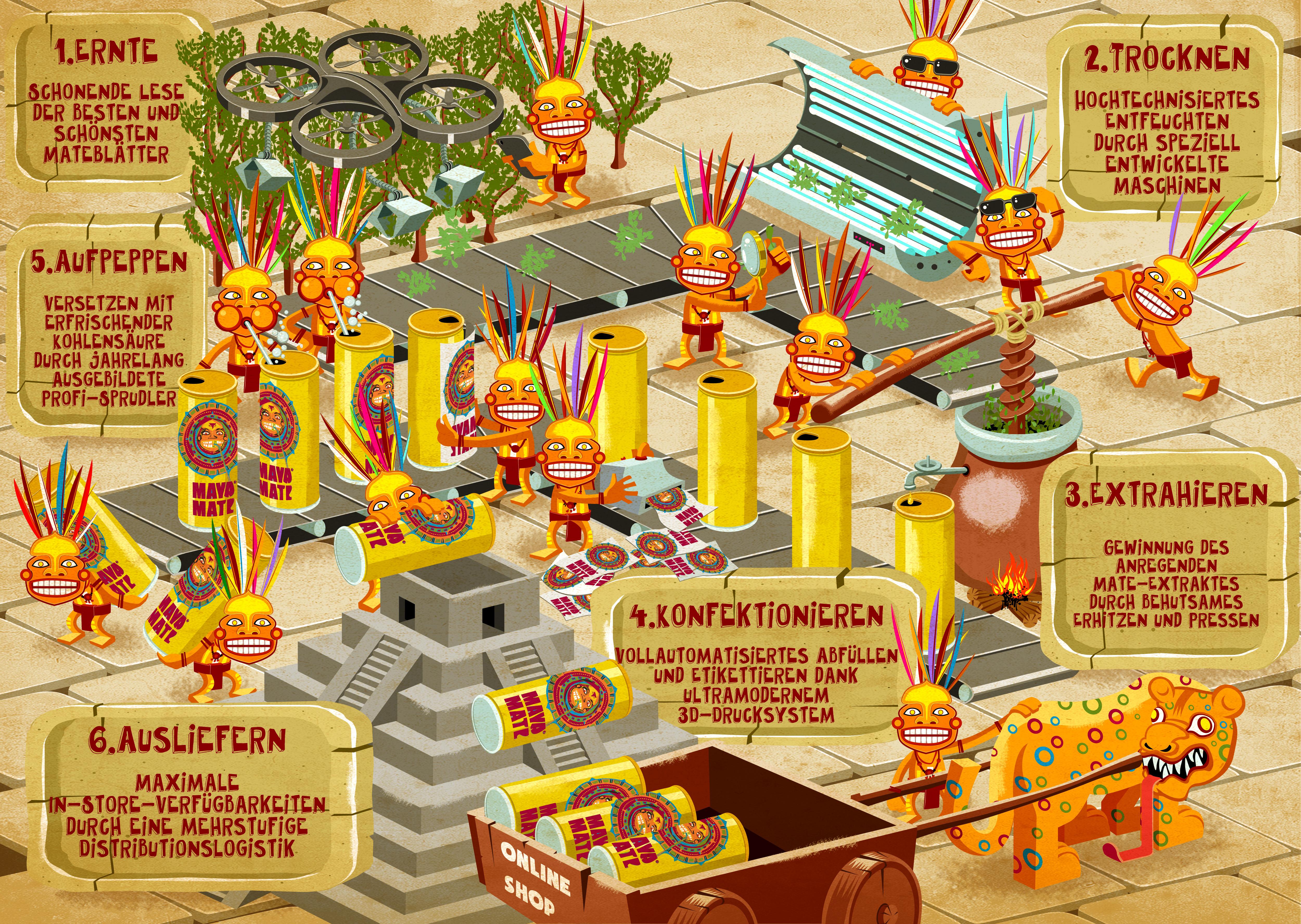 Schaubild zur Produktion des Maya-Mate Energydrinks
