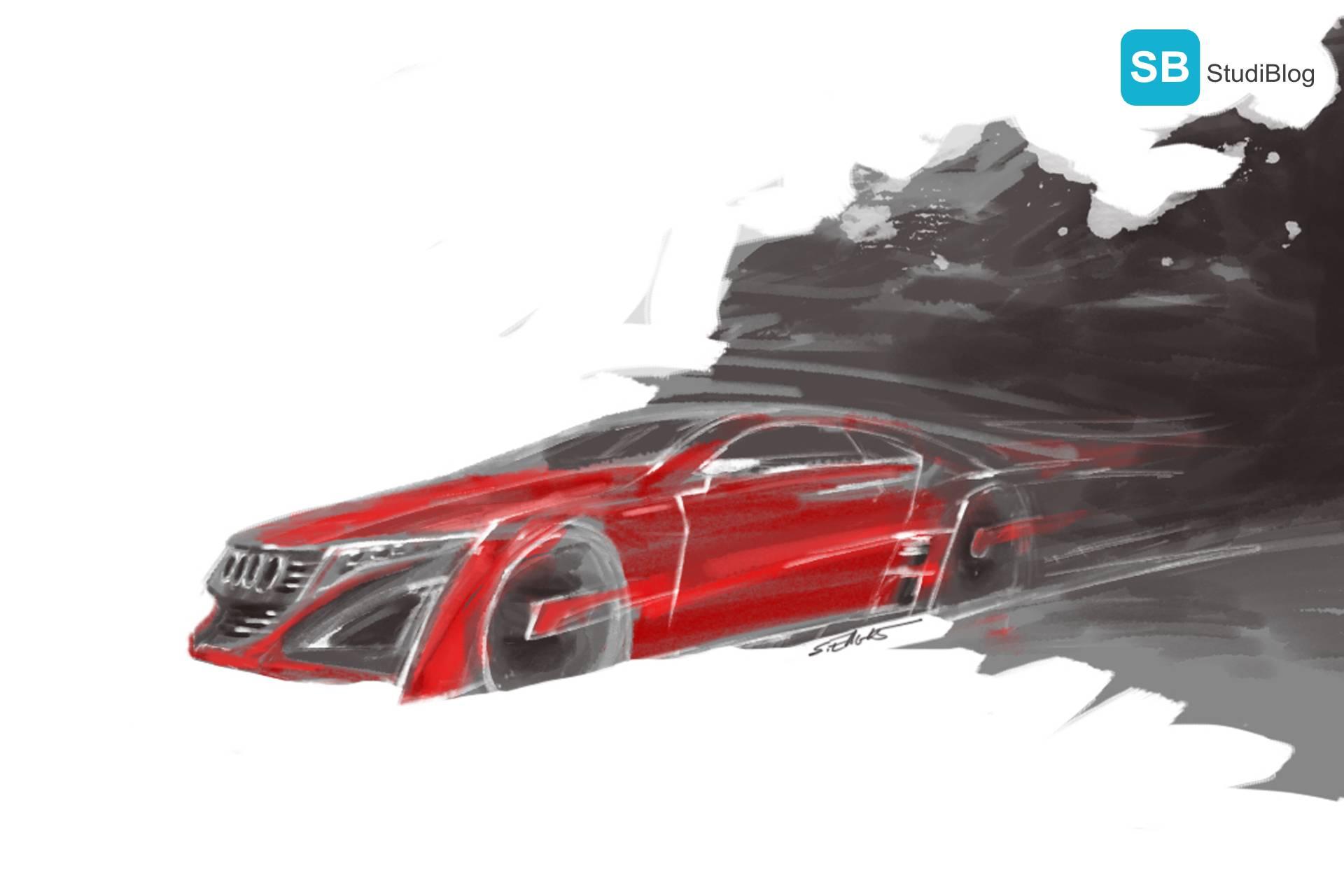 Zeichnung eines roten, sportlichen Audi-Modells.