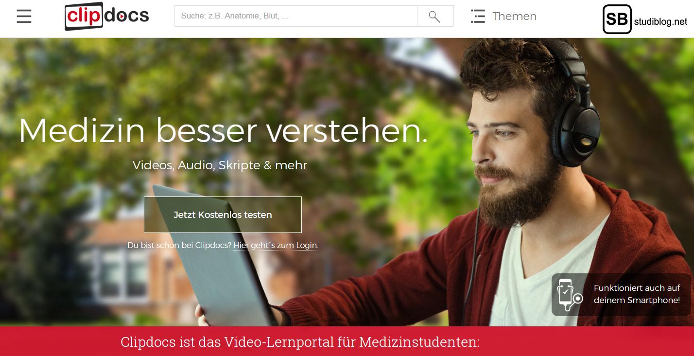 Medizin lernen mit Clipdocs: Screenshot der Webseite clipdocs.de