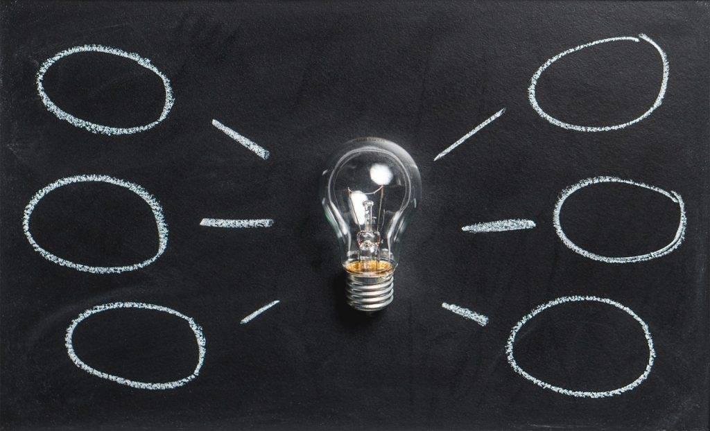 Priming-Effekt nutzen: Glühbirne liegt auf einer Tafel