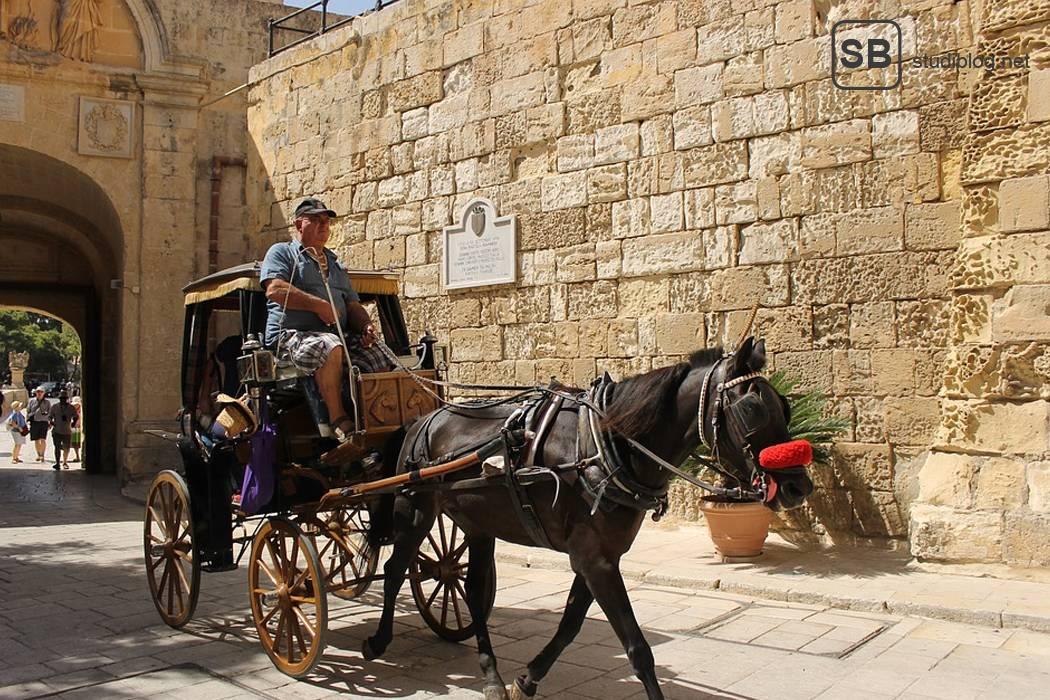 Artikelbild mit Pferdekutsche in der Stadt Mdina auf Malta