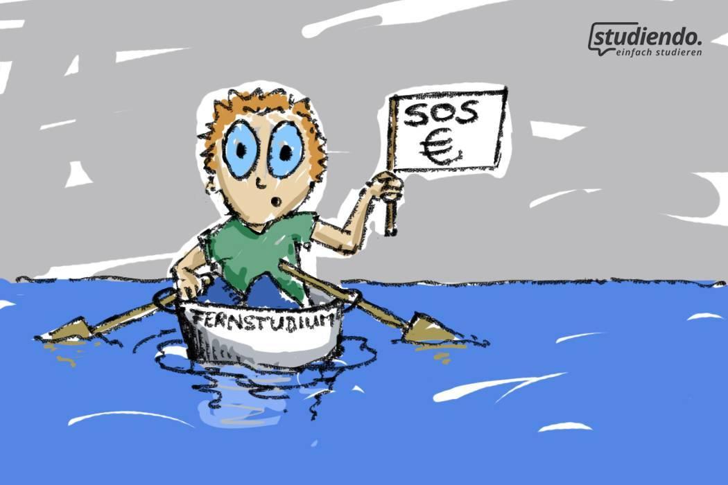 Student in einem kleinen Ruderboot sitzend, kurz vorm untergehen mit einer SOS-Flagge in der Hand mit einem Eurozeichen darauf