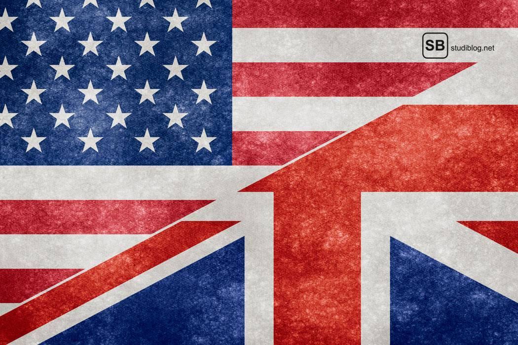 Kombination aus amerikanischer und britischer Fahne - Der Anglistik-Student.