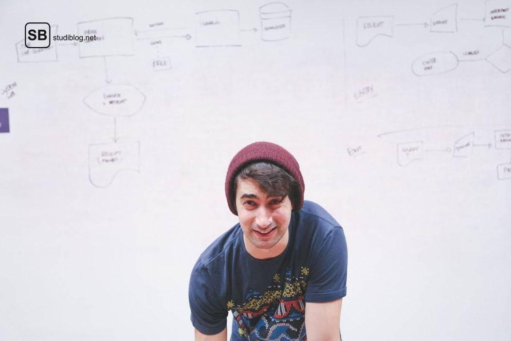 Ein Lehramtsstudent, mit Beanie und Nasenpiercing, steht vor einem Whiteboard auf dem eine Mind Map ist.