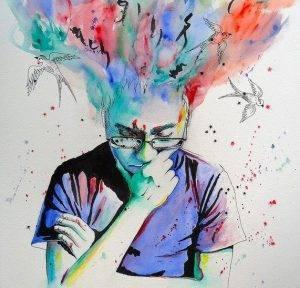 Bachelorarbeit: Brainstorming: Zeichnung von einem Jungen, der nachdenkt