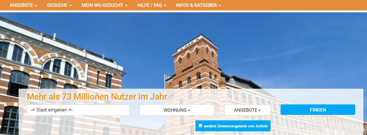WG-gesucht Screenshot Startseite