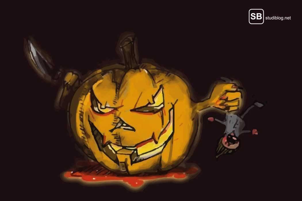 Halloween, eine bedenkliche Tradition die keine sein sollte - das Bild zeigt einen Kürbis mit Messer und einem Kind in der anderen Hand