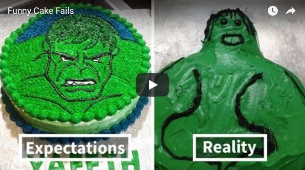 Weihnachten und die Geschenke bzw. die Erwartungen die man damit verbindet - werden sie immer erfüllt? Das Bild zeigt eine Torte mit einem Hulk und dem tatsächlichen Endergebnis, welches eher unschön aussieht