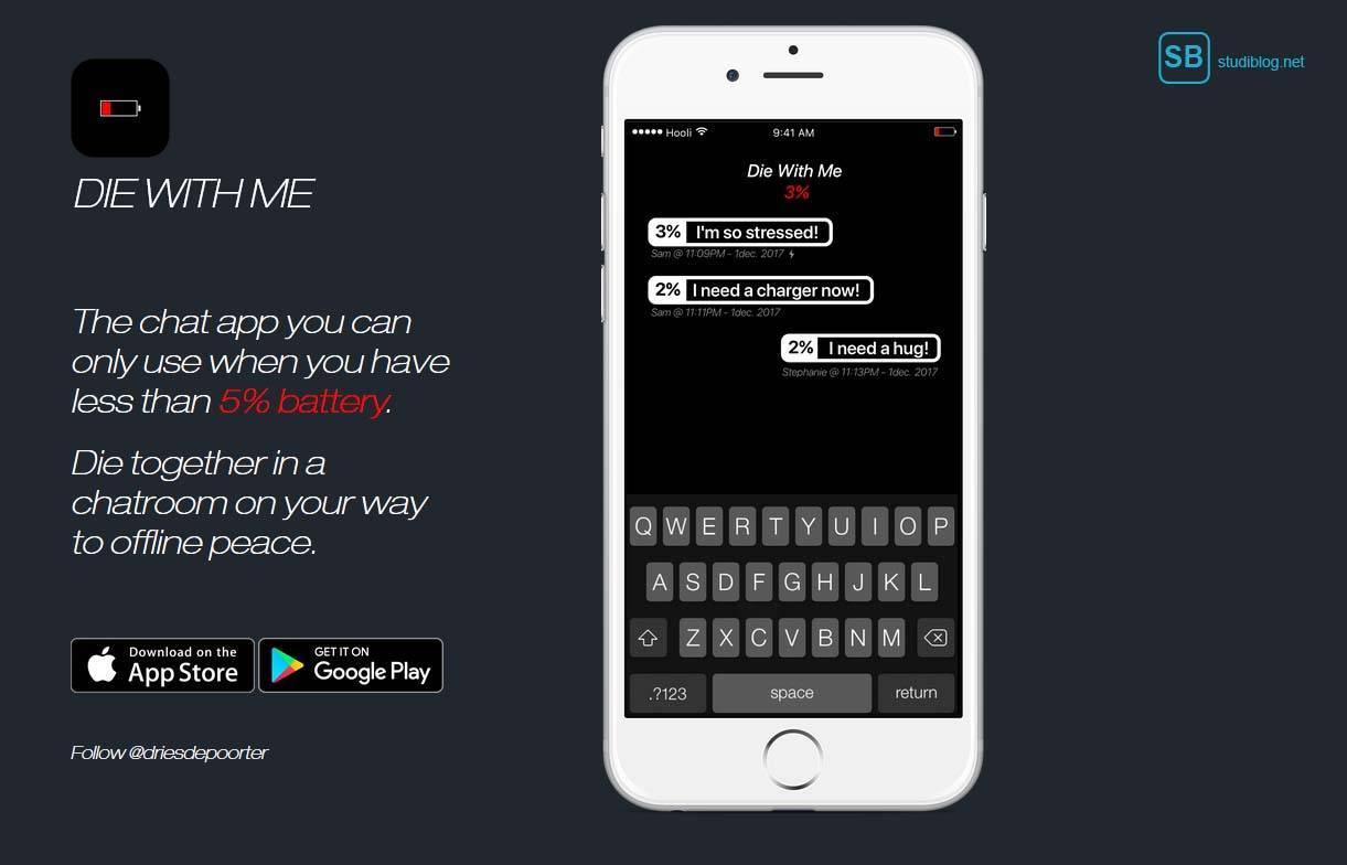 Die Chatting App Die With Me auf einem Smartphone