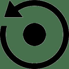 lesen lernen icon - punkt mit pfeilkreis gegen den uhrzeigersinn als symbol für wiederholung