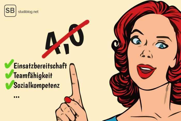 À la Comic: Rothaarige Frau hebt den Zeigefinger Richtung dem Notenschnitt 4,0, welcher durchgestrichen ist - soziale Kompetenzer sind wichtiger.