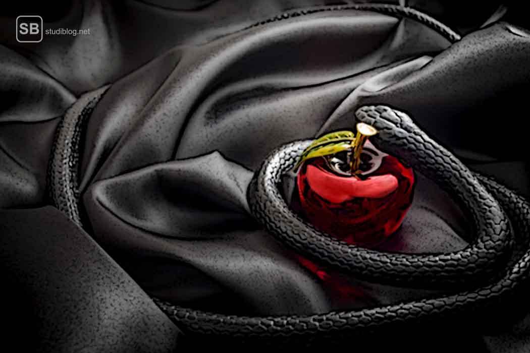 Versuchung durch den Teufel, symbolisch dargestellt durch eine Schlange die auf einem Seidentuch einen Apfel umstreift