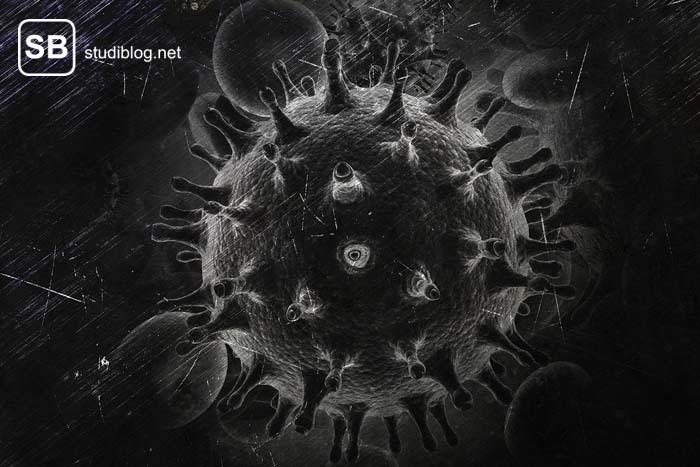 HIV - Zelle schwarz-weiß abgebildet.
