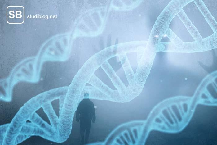 DNA Doppelhelix mit einem Geist und einem Menschen im Hintergrund zum Thema Gentechnik