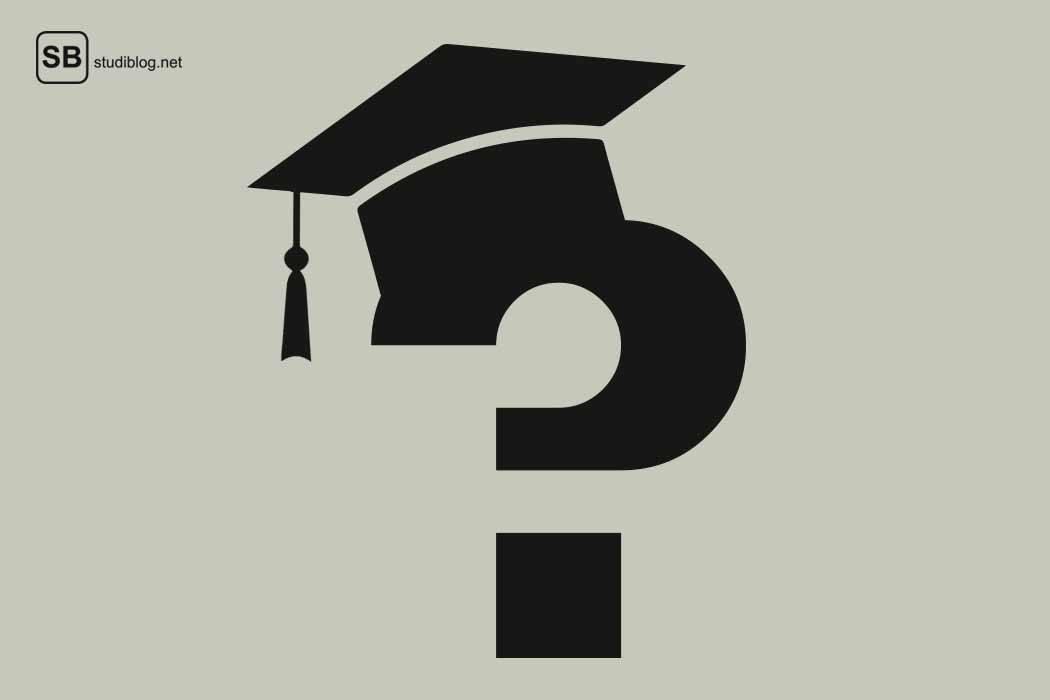 Die Frage nach dem einer Promotion, symbolisch dargestellt durch ein Fragezeichen mit einem Doktorhut auf der Spitze / doctoral thesis