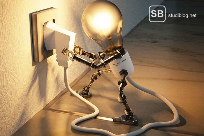 Glühbirnenmännchen mit Händen an der Steckdose zum Thema Vergleich von Strom und Gas für Studenten