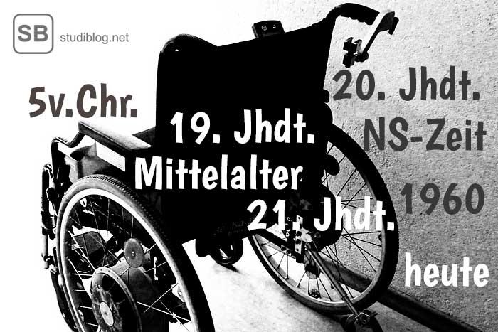 Der geschichtliche Umgang mit behinderten Menschen symbolisiert durch einen Rollstuhl mit Jahreszahlen