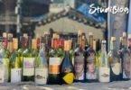 Einführungswoche an der Universität: Verschiedene leere Weinflaschen stehen auf einer Steinwand in der Sonne.