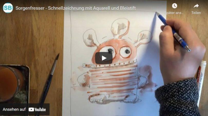 Sorgenfresser Quick Drawing Schnellzeichnung