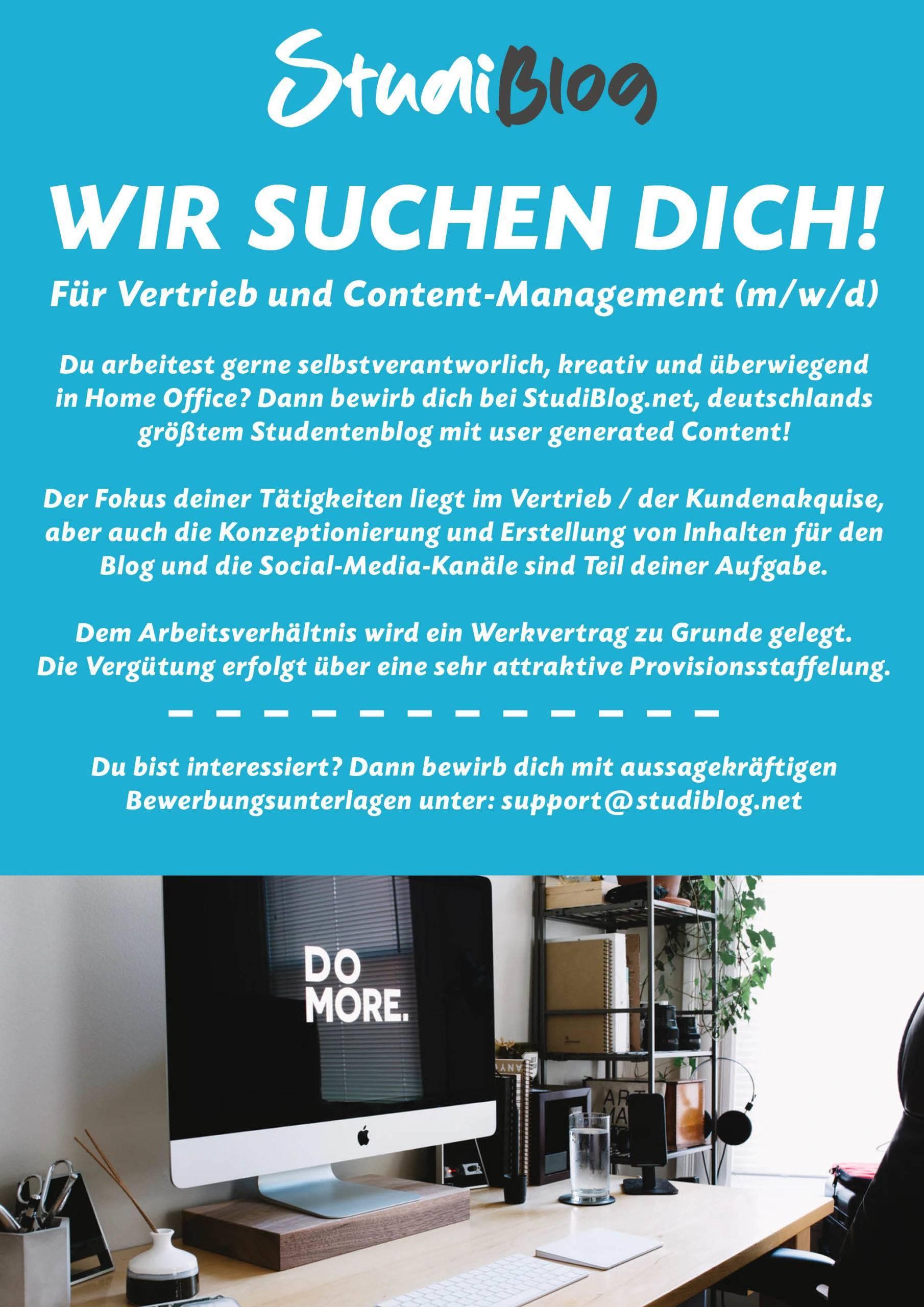 Stellenausschreibung, Jobangebot, StudiBlog - Vertrieb, Contentmarketing, Onlinemarketing